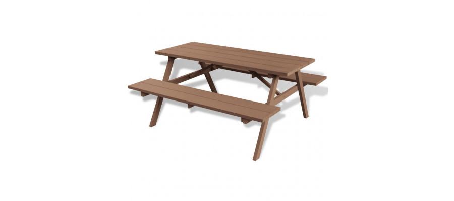 Picnicbord med bænke WPC 150 x 139 x 72,5 cm brun