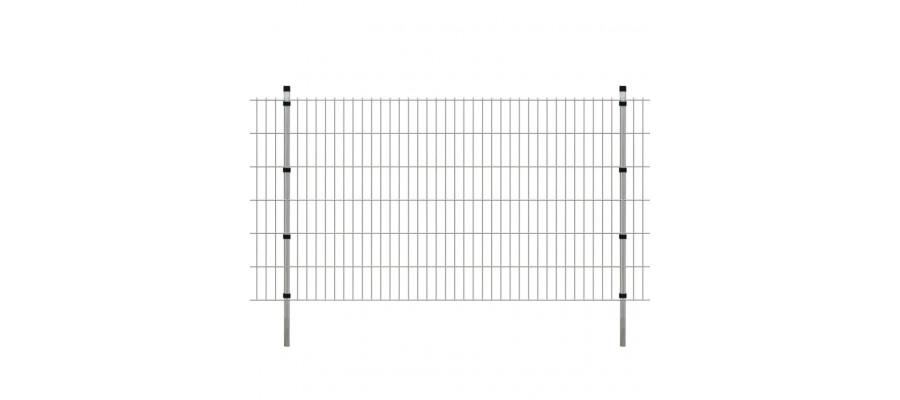 2D paneler og pæle til havehegn, 2.008x1.230 mm, 10 m, sølvgrå