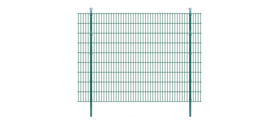 2D paneler og pæle til havehegn, 2.008x1.830 mm, 6 m, grønne