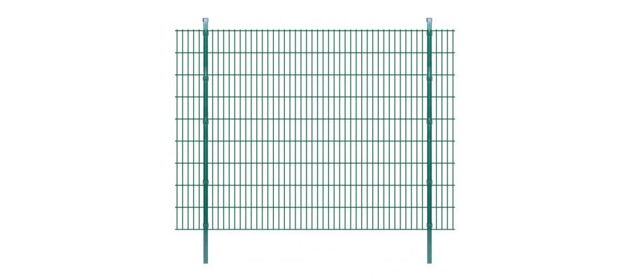 2D paneler og pæle til havehegn, 2.008x1.830 mm, 16 m, grønne