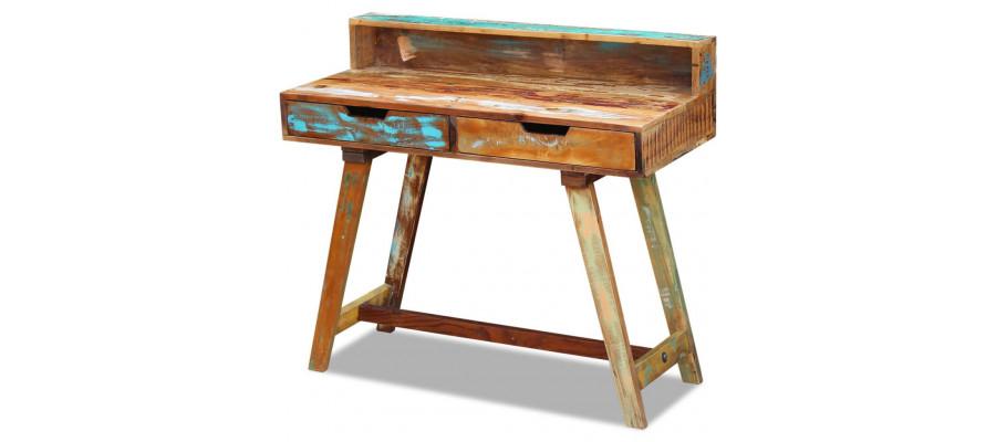 Skrivebord massivt genbrugstræ