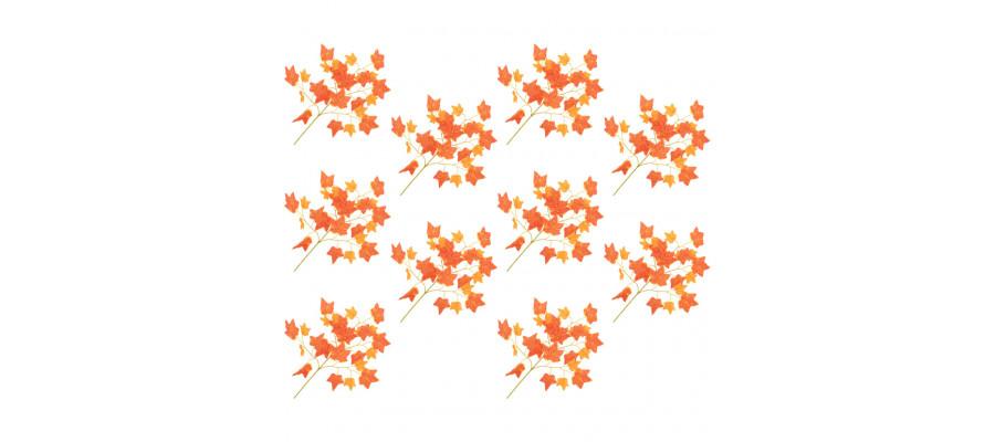 Kunstige vedbendblade 10 stk. 70 cm rød