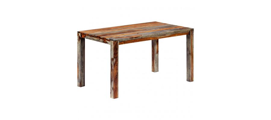 Spisebord massivt sheeshamtræ 140 x 70 x 76 cm grå