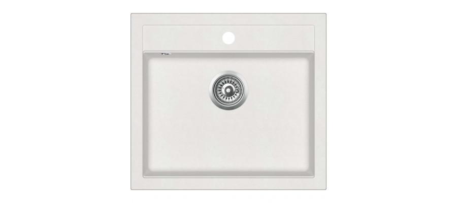 Køkkenvask granit enkelt vask hvid
