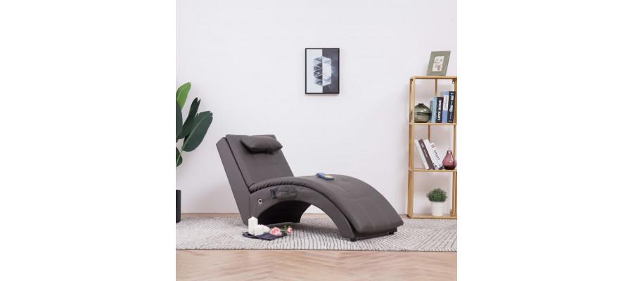 Massagechaiselong med pude kunstlæder grå