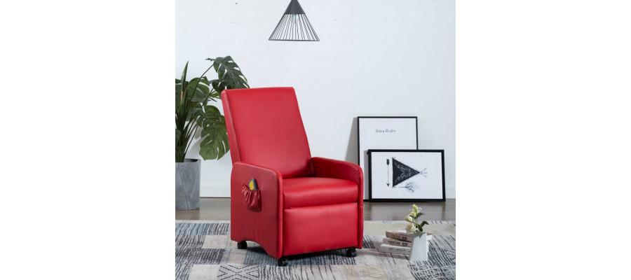 Elektrisk massagelænestol kunstlæder rød