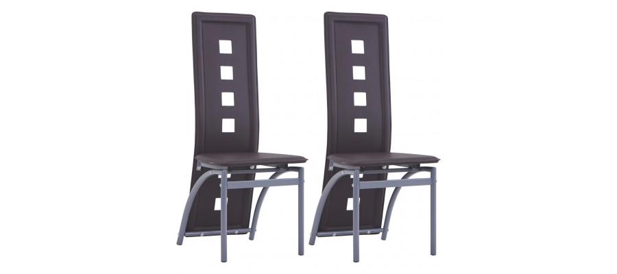 Spisebordsstole 2 stk. kunstlæder brun