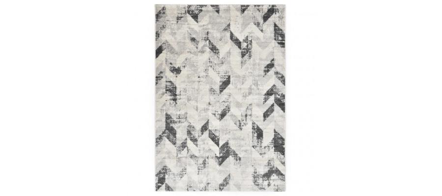 Gulvtæppe 160 x 230 cm PP grå og hvid