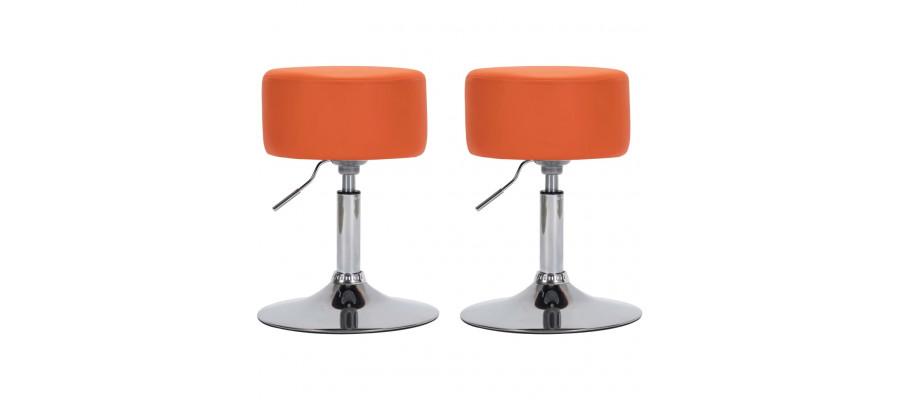 Barstole 2 stk. kunstlæder orange