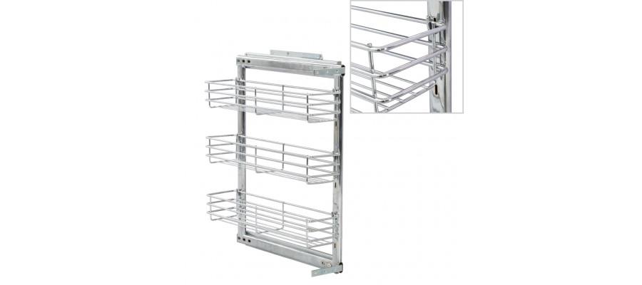 Udtrækkelig trådnetskurv til køkken 3 niveauer 47x15x56 cm sølv