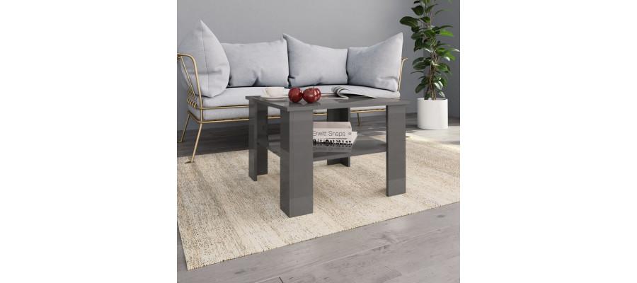 Sofabord 60 x 60 x 42 cm spånplade grå højglans
