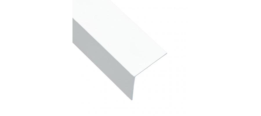 Vinkelplader 5 stk. L-form 170 cm 30x30 mm 90° aluminium hvid
