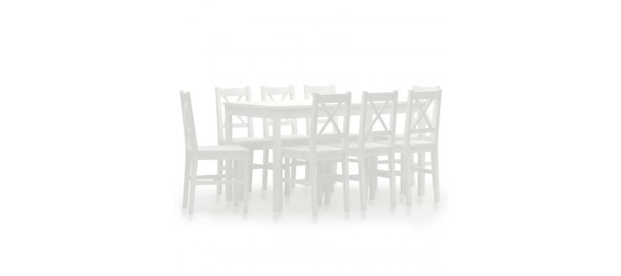 Spisebordssæt 9 dele fyrretræ hvid