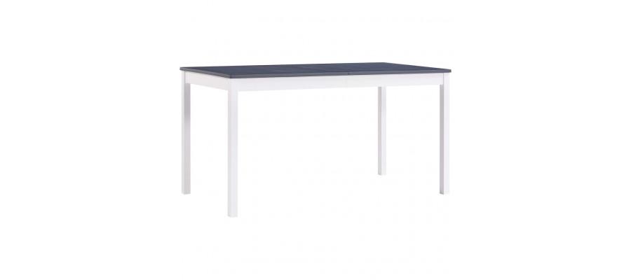 Spisebord 140 x 70 x 73 cm fyrretræ hvid og grå