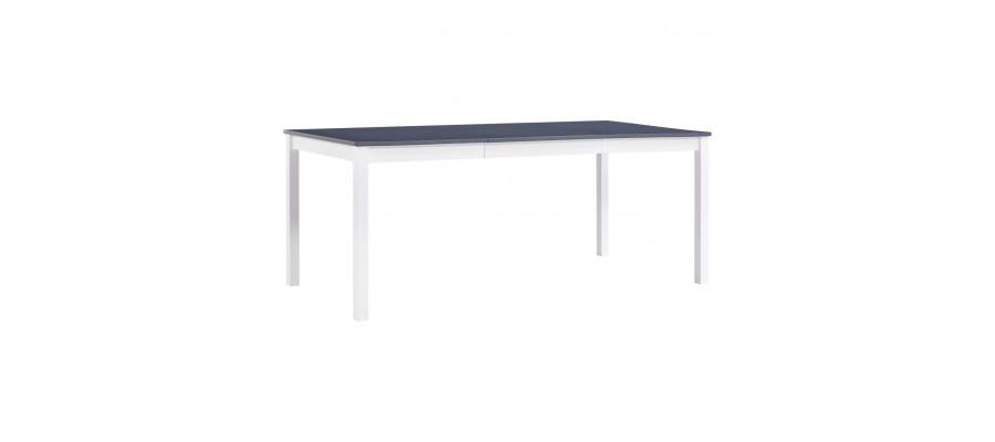 Spisebord 180 x 90 x 73 cm fyrretræ hvid og grå
