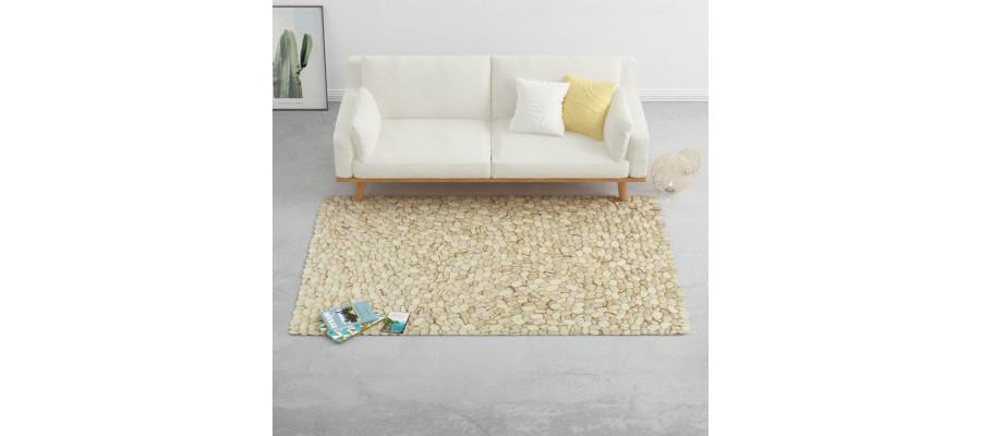 Gulvtæppe 160 x 230 cm filtsten beige/grå/brun/chokoladebrun