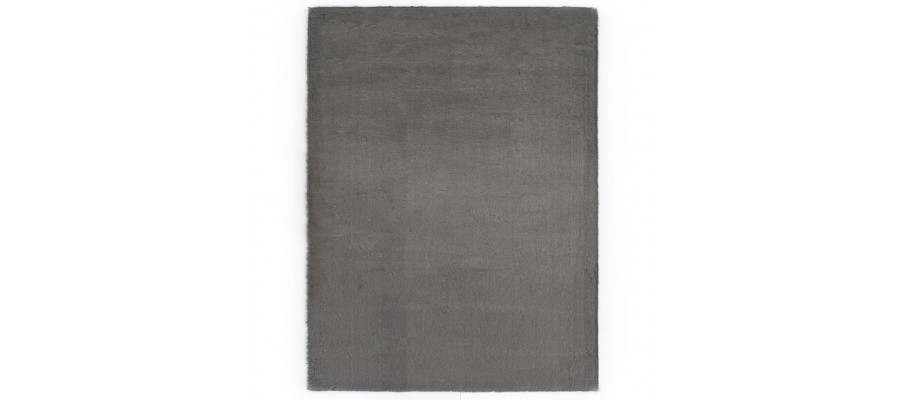Gulvtæppe 80 x 150 cm kunstig kaninpels mørkegrå