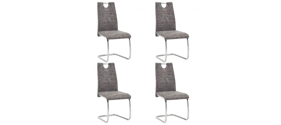Spisebordsstole 4 stk. kunstlæder brun