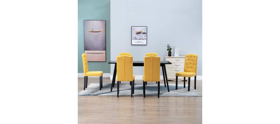 Spisebordsstole 6 stk. stof gul