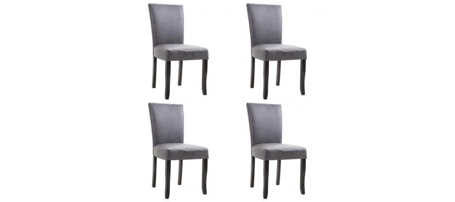 Spisebordsstole 4 stk. imiteret ruskind grå