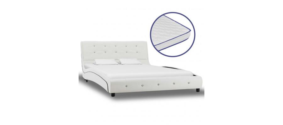 Seng med madras i memoryskum 120 x 200 cm kunstlæder hvid