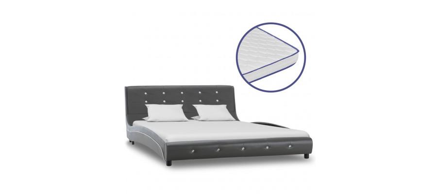 Seng med madras i memoryskum 140 x 200 cm kunstlæder grå