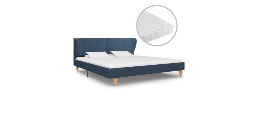 Seng med madras 180 x 200 cm stof blå