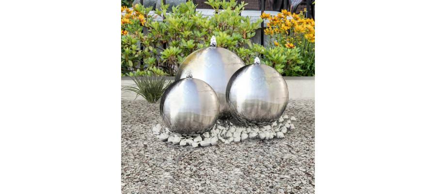 Havespringvand 3 dele rustfrit stål LED-lys kugleformet