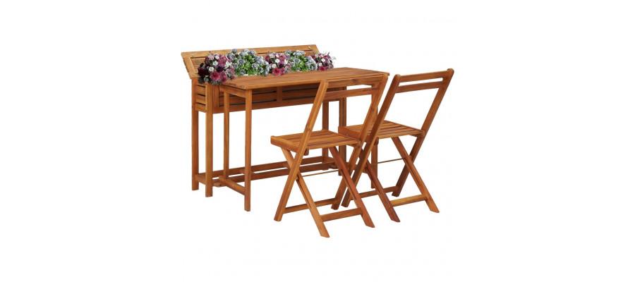 Plantekassebord med 2 bistrostole til altanen massivt akacietræ