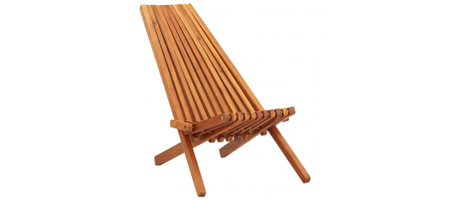 Foldbar udendørs loungestol massivt akacietræ