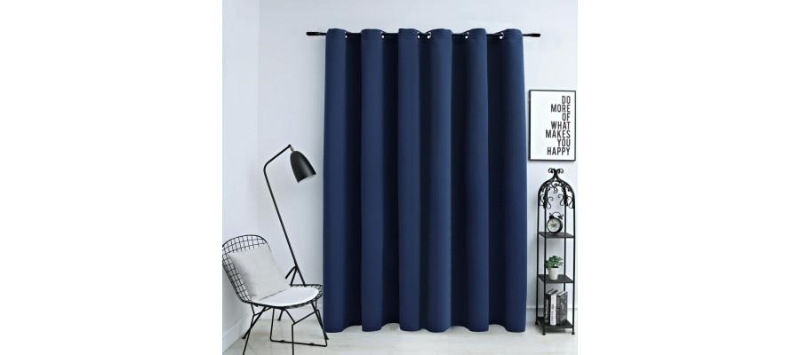 Mørklægningsgardin med metalringe 290 x 245 cm blå