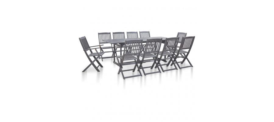 Spisebordssæt til haven 11 dele massivt akacietræ grå