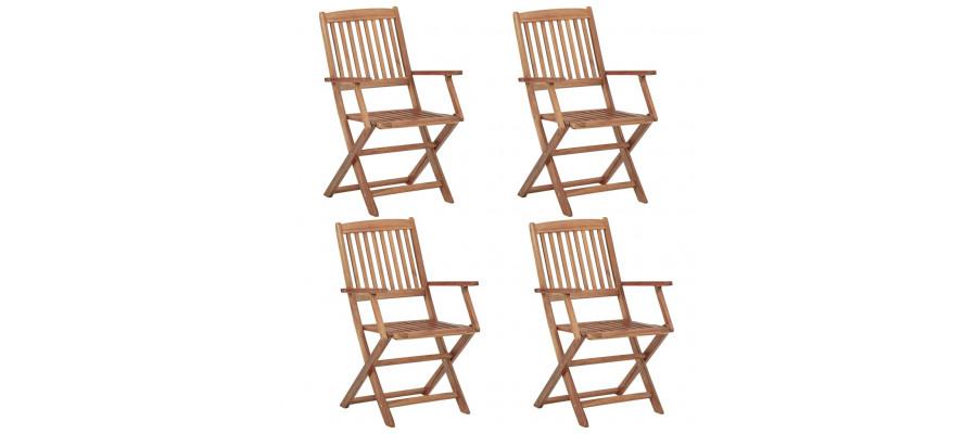 Foldbare havestole 4 stk. massivt akacietræ