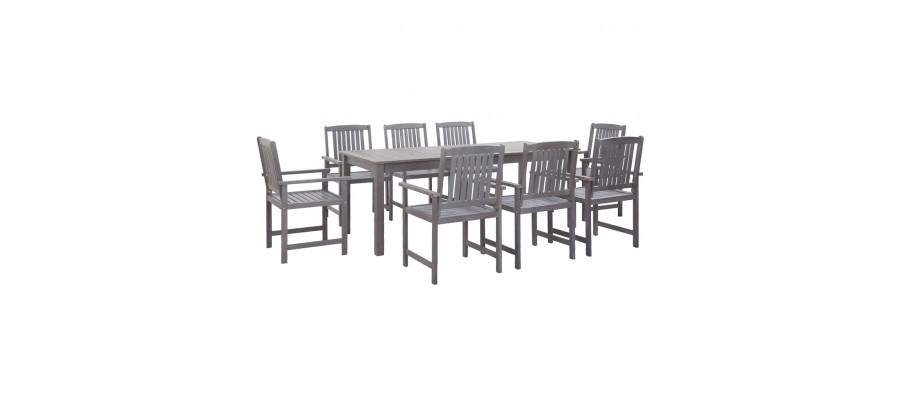 Udendørs spisebordssæt 9 dele massivt akacietræ grå