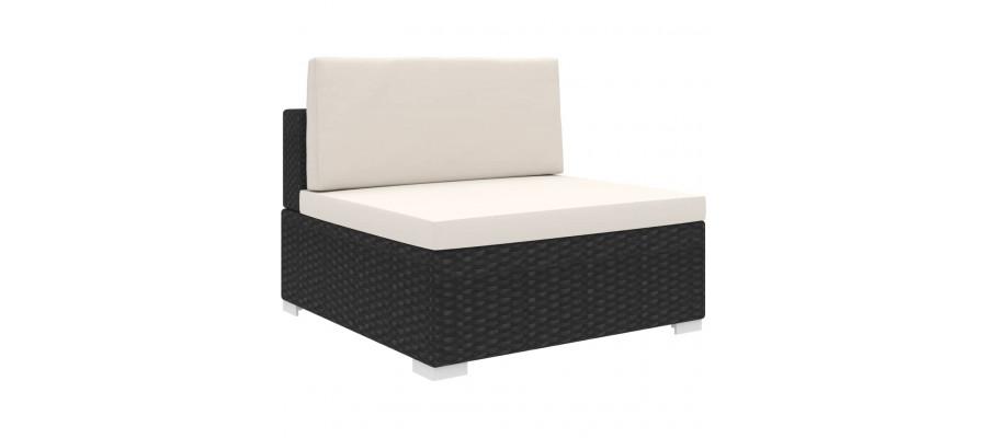 Midtersæde til sofa 1 stk. med hynder polyrattan sort