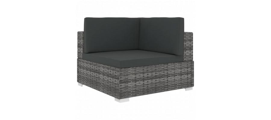 Hjørnesæde til sofa 1 stk. med hynder polyrattan grå