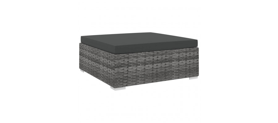 Fodskammel til sofa 1 stk. med hynde polyrattan grå