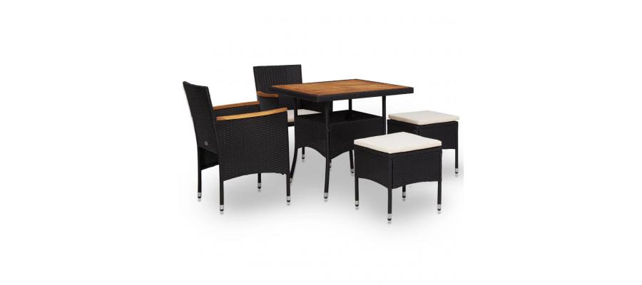 Udendørs spisebordssæt i 5 dele polyrattan og akacietræ sort