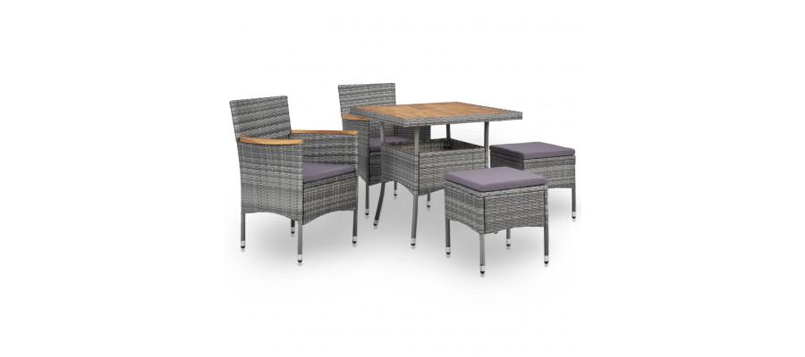 Udendørs spisebordssæt 5 dele polyrattan og akacietræ grå