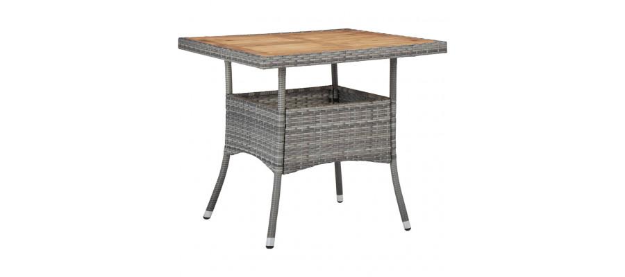 Udendørs spisebord polyrattan og massivt akacietræ grå