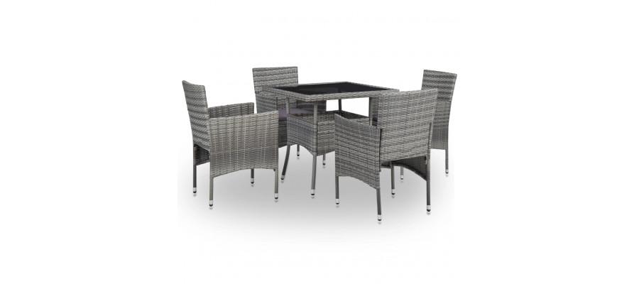 Udendørs spisebordssæt 5 dele polyrattan og glas grå