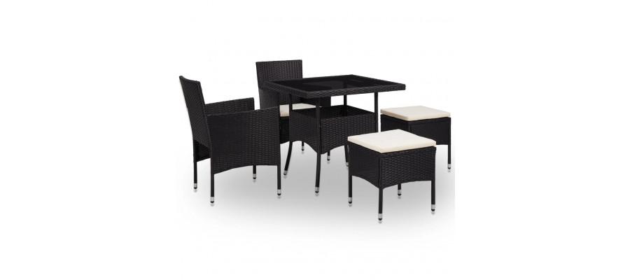 Udendørs spisebordssæt 5 dele polyrattan og glas sort