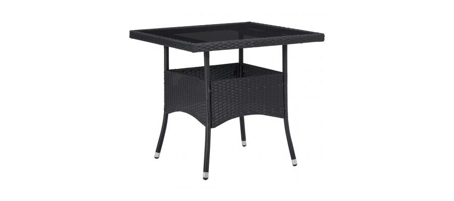 Udendørs spisebord polyrattan og glas sort