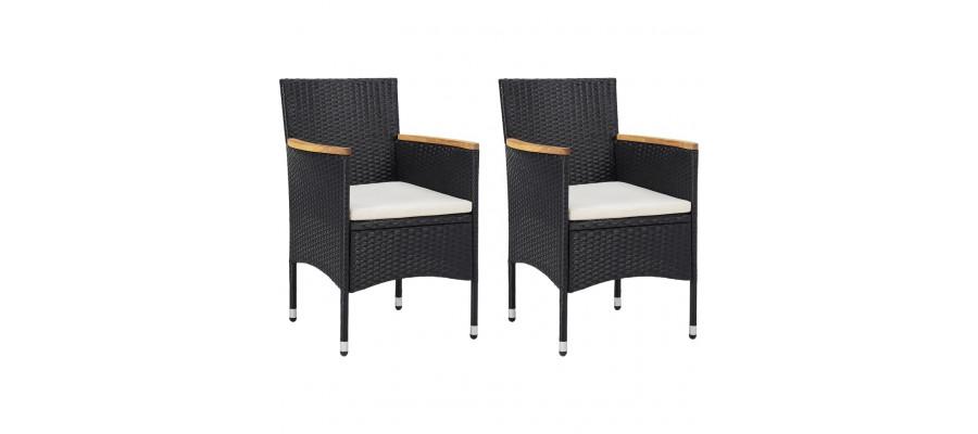 Spisebordsstole til haven 2 stk. polyrattan sort