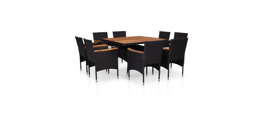 Udendørs spisebordssæt 9 dele polyrattan og akacietræ sort