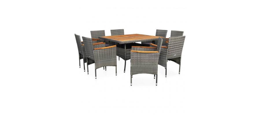 Udendørs spisebordssæt i 9 dele polyrattan og akacietræ grå