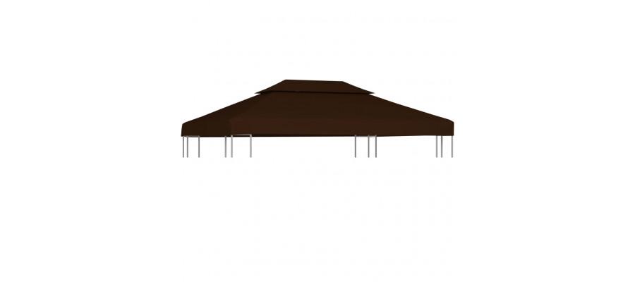 Pavillontopdække 2 niveauer 310 g/m² 4 x 3 m brun