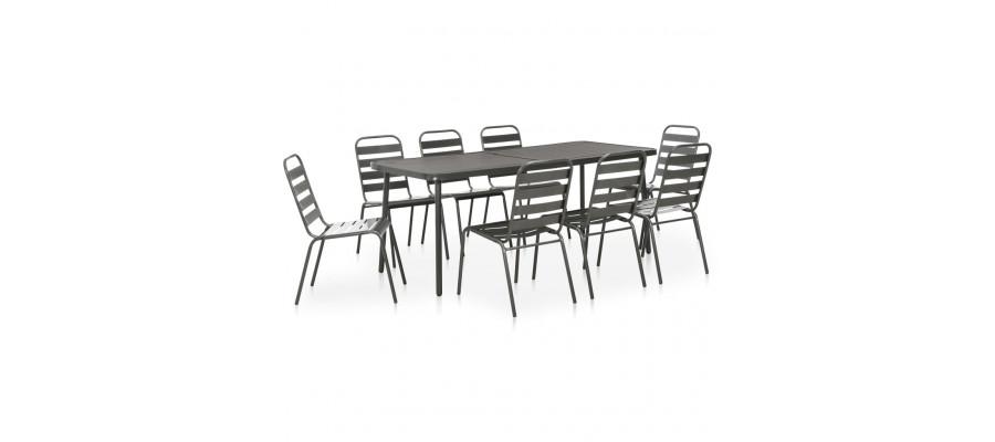 Udendørs spisebordssæt 9 dele stål mørkegrå