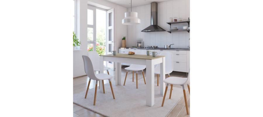 Spisebord 120 x 60 x 76 cm spånplade hvid og sonoma-eg
