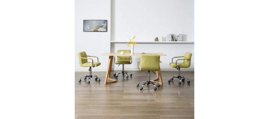 Drejelige spisebordsstole 4 stk. stof grøn